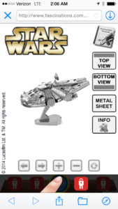 Metal Earth Millennium Falcon 20
